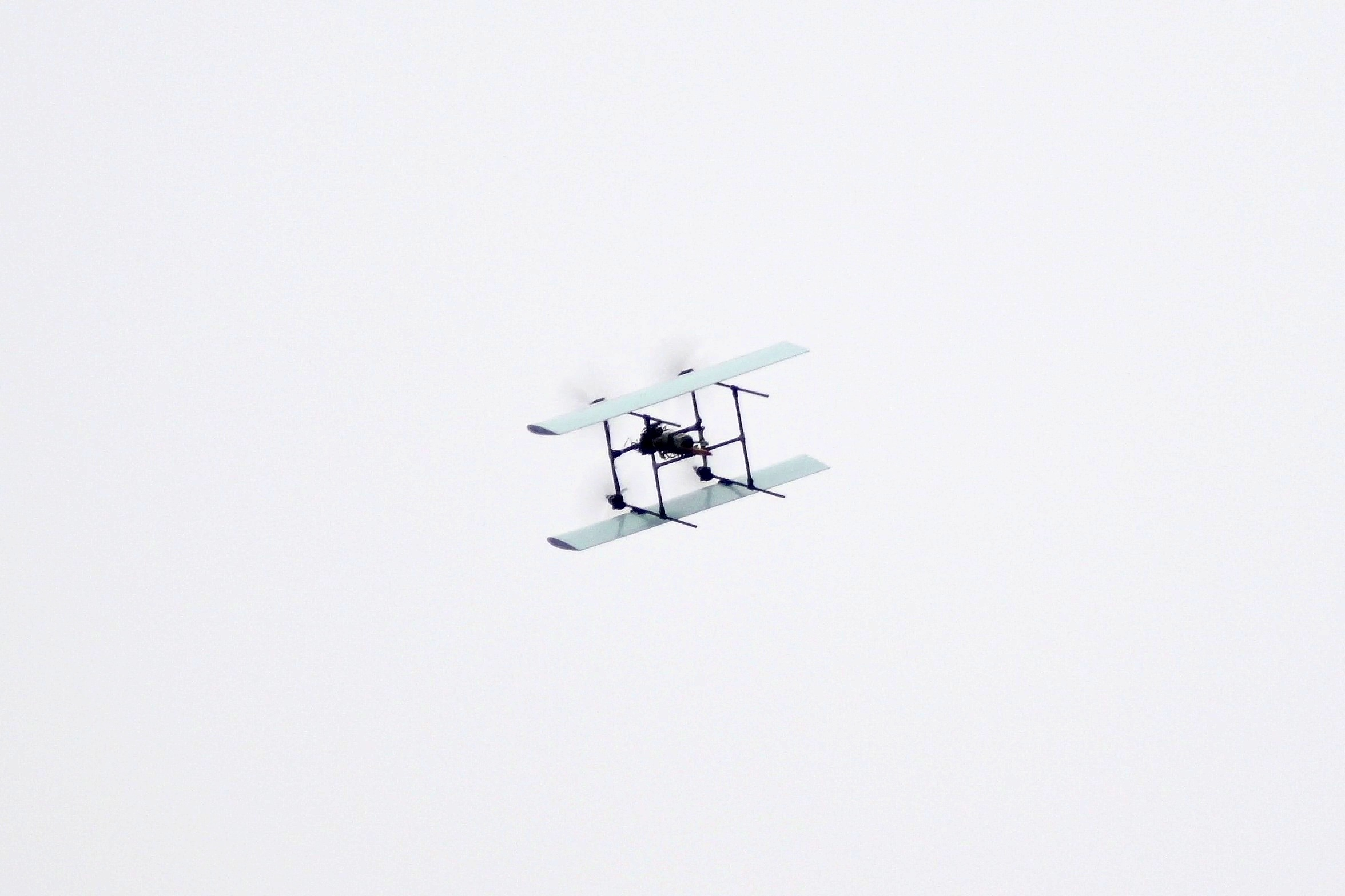 Quadrotor Tailsitter Bi-Plane VTOL Aircraft Forward Flight Mode